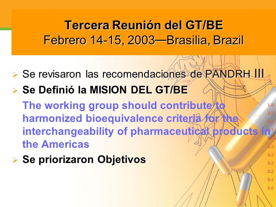Tercera Reunión del GT/BE Febrero 14-15, 2003—Brasilia, Brazil