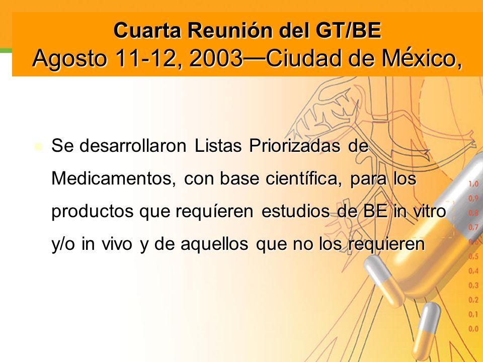 Cuarta Reunión del GT/BE Agosto 11-12, 2003—Ciudad de México,