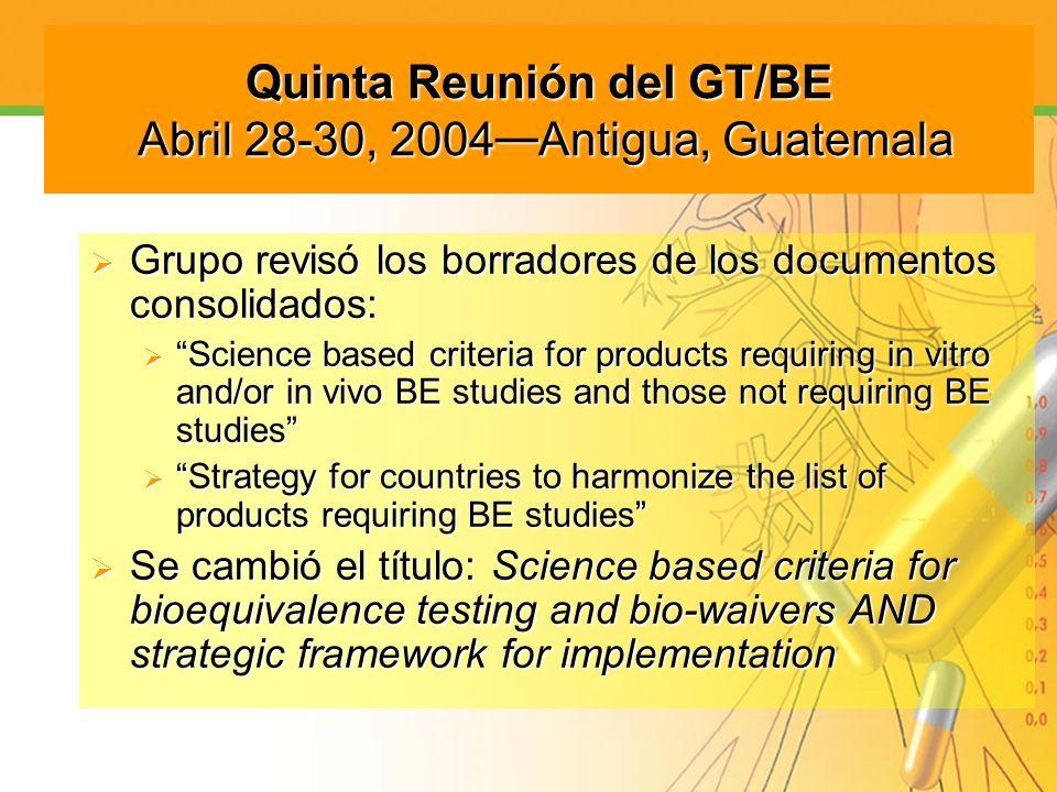 Quinta Reunión del GT/BE Abril 28-30, 2004—Antigua, Guatemala
