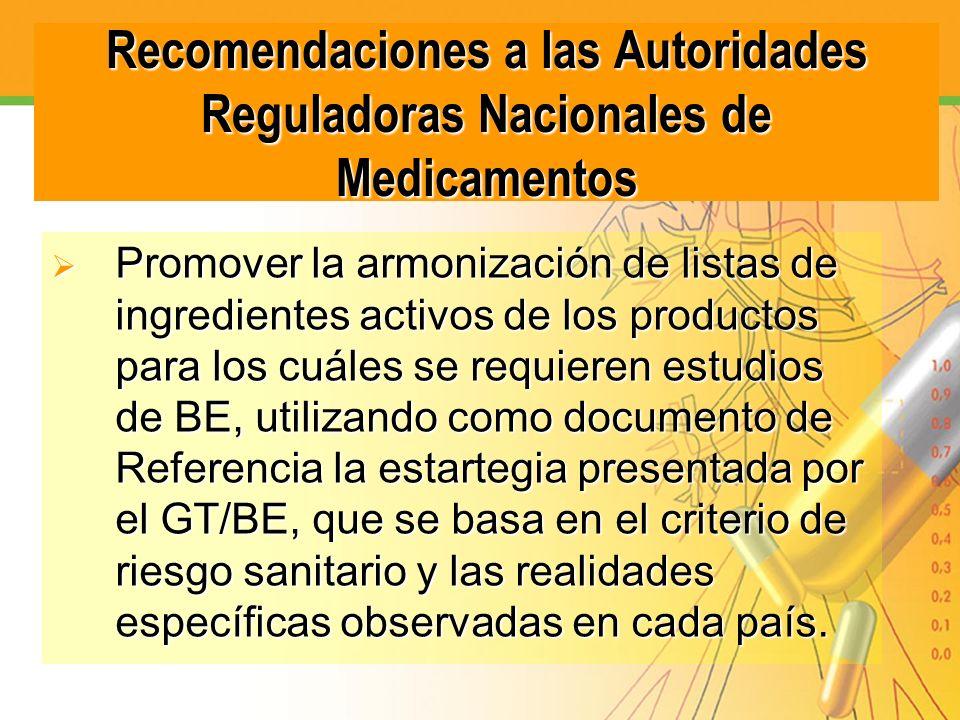 Recomendaciones a las Autoridades Reguladoras Nacionales de Medicamentos
