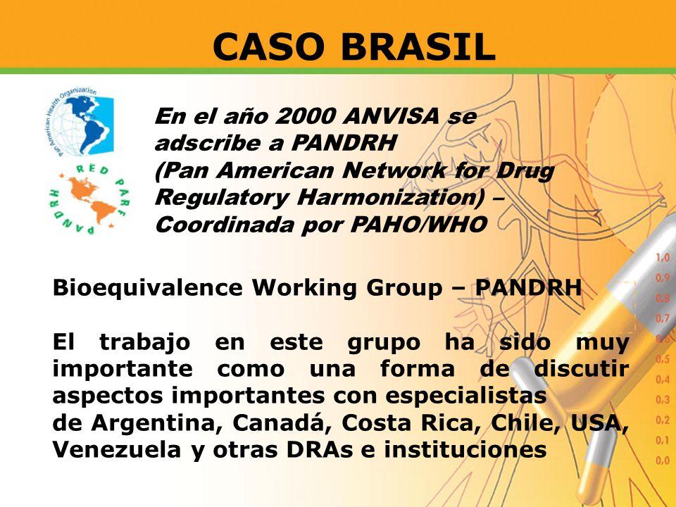 CASO BRASIL En el año 2000 ANVISA se adscribe a PANDRH