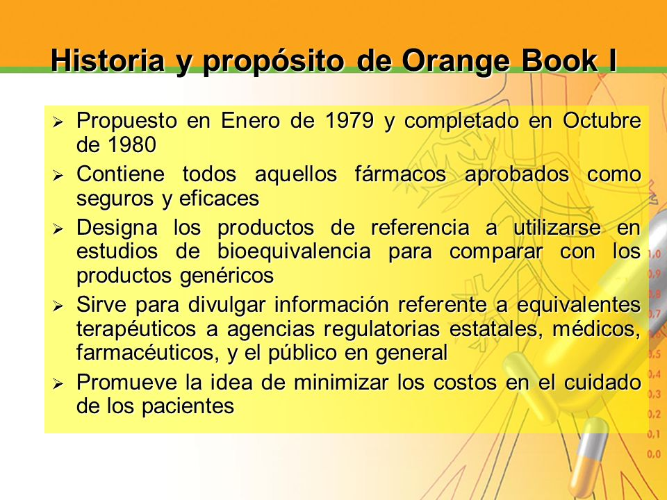 Historia y propósito de Orange Book I