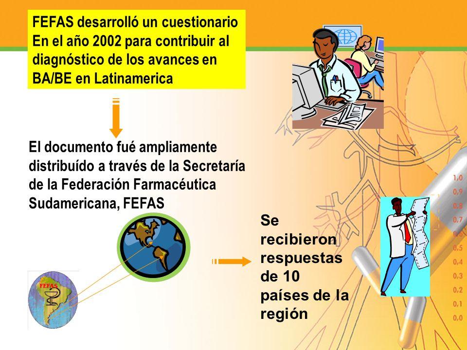 FEFAS desarrolló un cuestionario En el año 2002 para contribuir al diagnóstico de los avances en BA/BE en Latinamerica