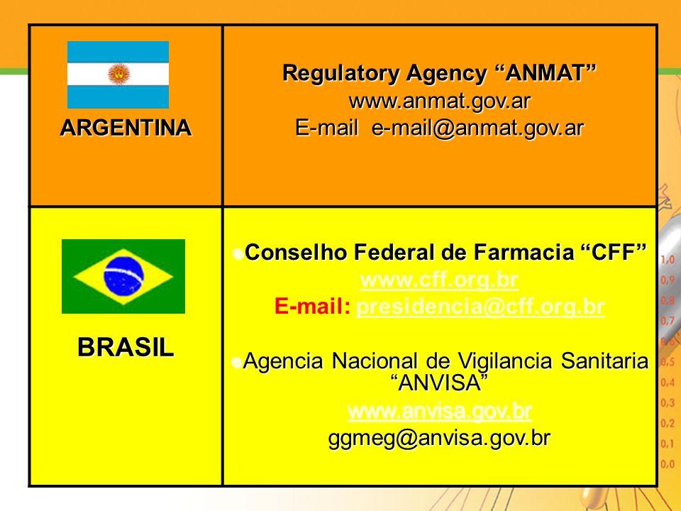 BRASIL ARGENTINA Regulatory Agency ANMAT www.anmat.gov.ar