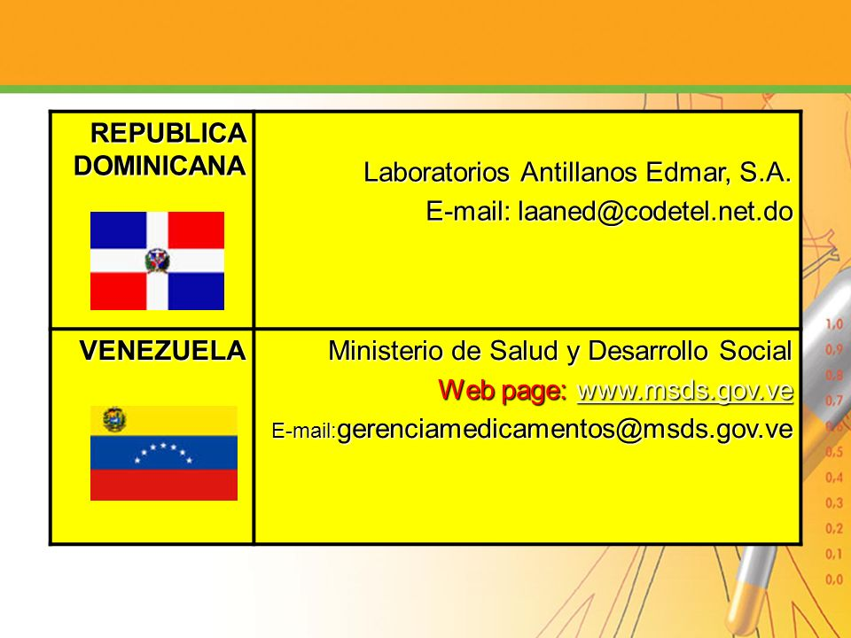 Laboratorios Antillanos Edmar, S.A. E-mail: laaned@codetel.net.do