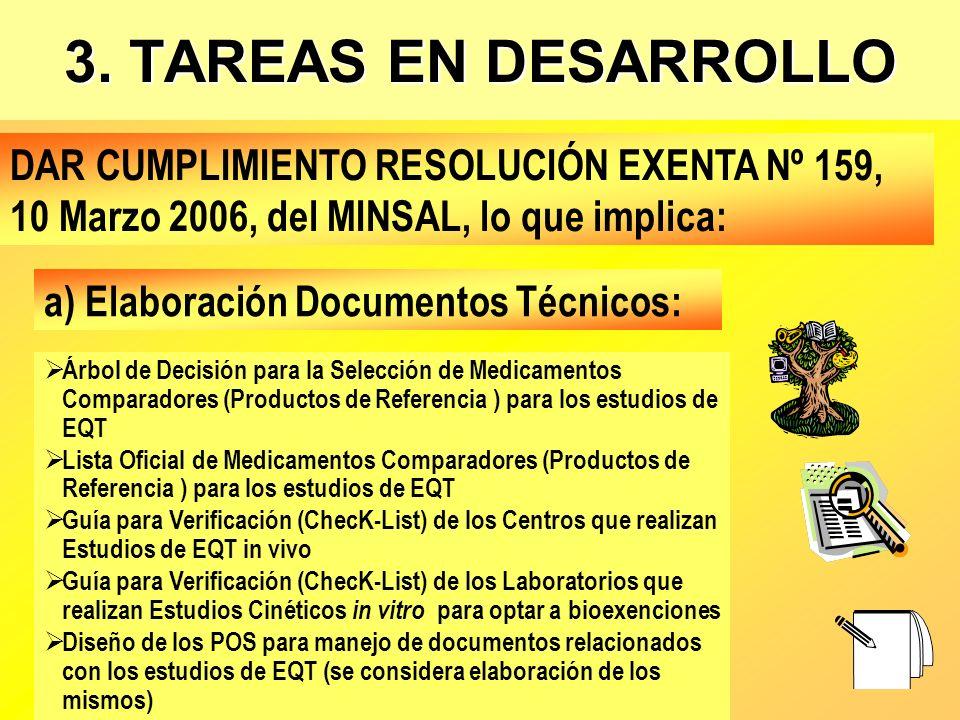 3. TAREAS EN DESARROLLO DAR CUMPLIMIENTO RESOLUCIÓN EXENTA Nº 159, 10 Marzo 2006, del MINSAL, lo que implica: