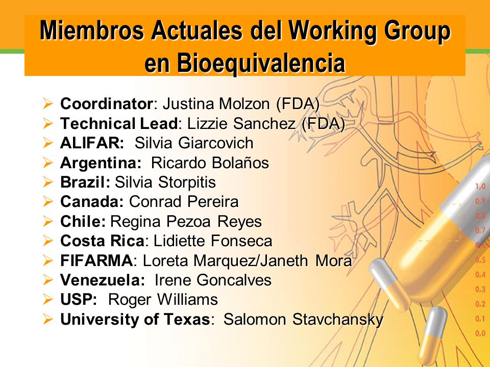 Miembros Actuales del Working Group en Bioequivalencia
