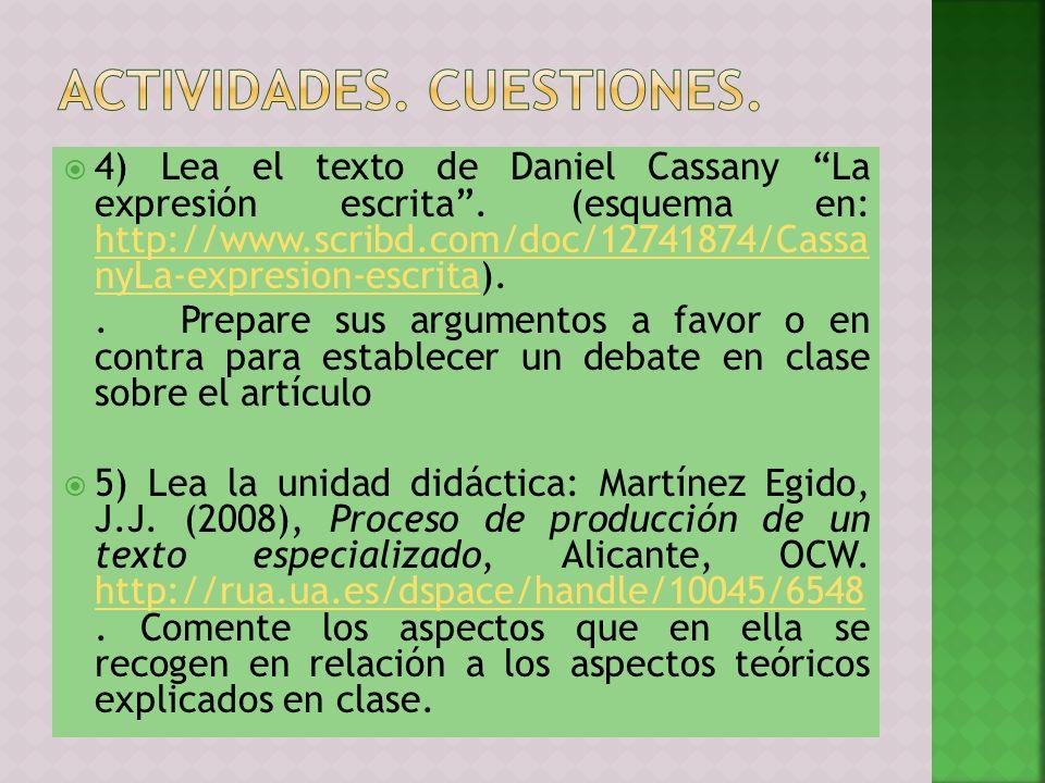 Actividades. CUESTIONES.