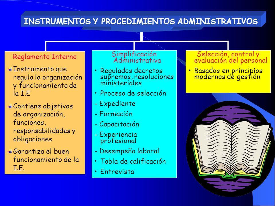 INSTRUMENTOS Y PROCEDIMIENTOS ADMINISTRATIVOS