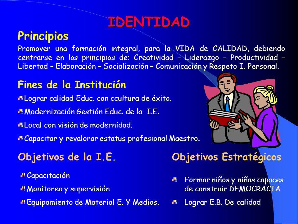 IDENTIDAD Principios Fines de la Institución Objetivos de la I.E.