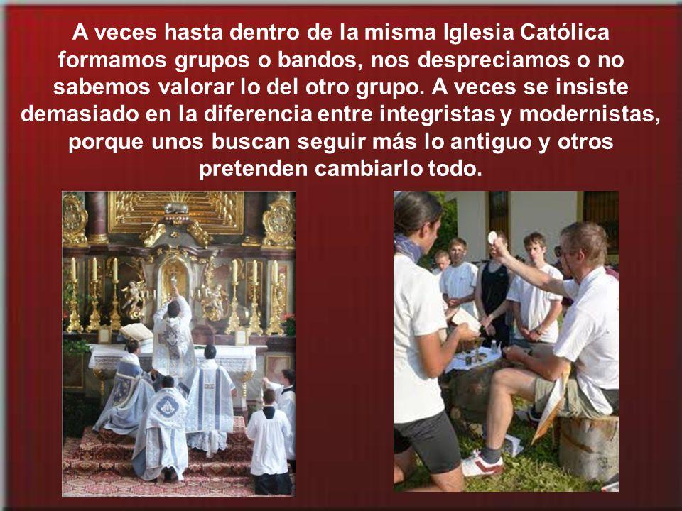 A veces hasta dentro de la misma Iglesia Católica formamos grupos o bandos, nos despreciamos o no sabemos valorar lo del otro grupo.