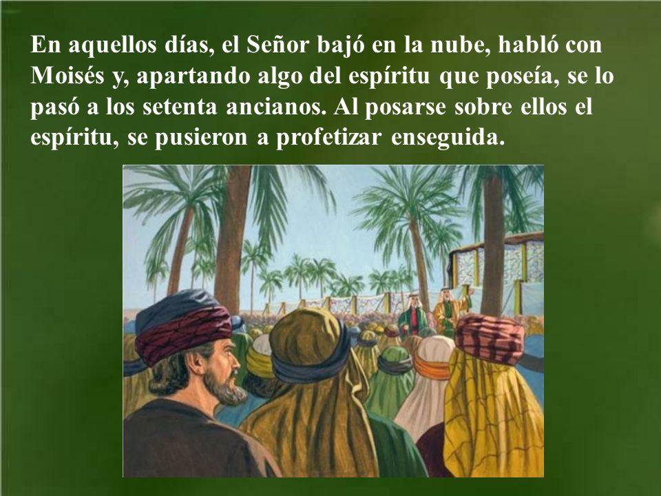En aquellos días, el Señor bajó en la nube, habló con Moisés y, apartando algo del espíritu que poseía, se lo pasó a los setenta ancianos.
