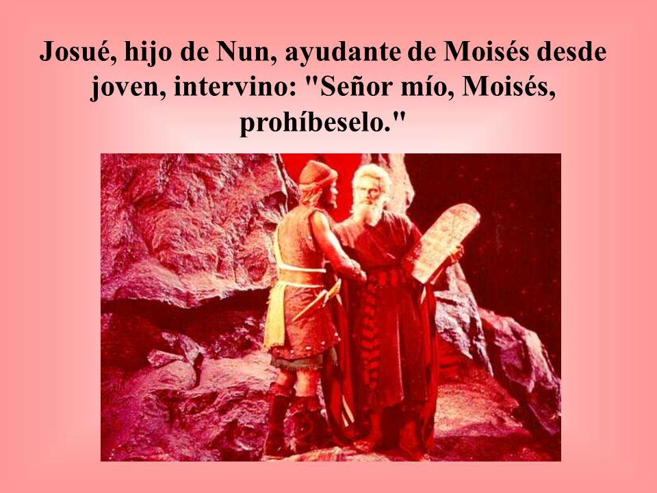 Josué, hijo de Nun, ayudante de Moisés desde joven, intervino: Señor mío, Moisés, prohíbeselo.