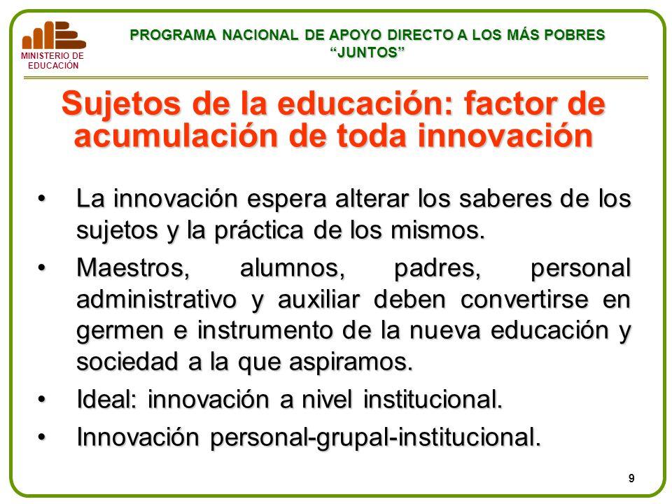 Sujetos de la educación: factor de acumulación de toda innovación
