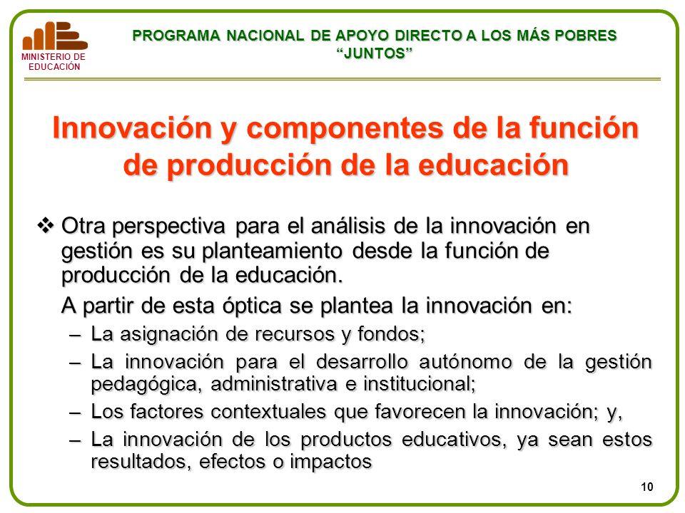 Innovación y componentes de la función de producción de la educación