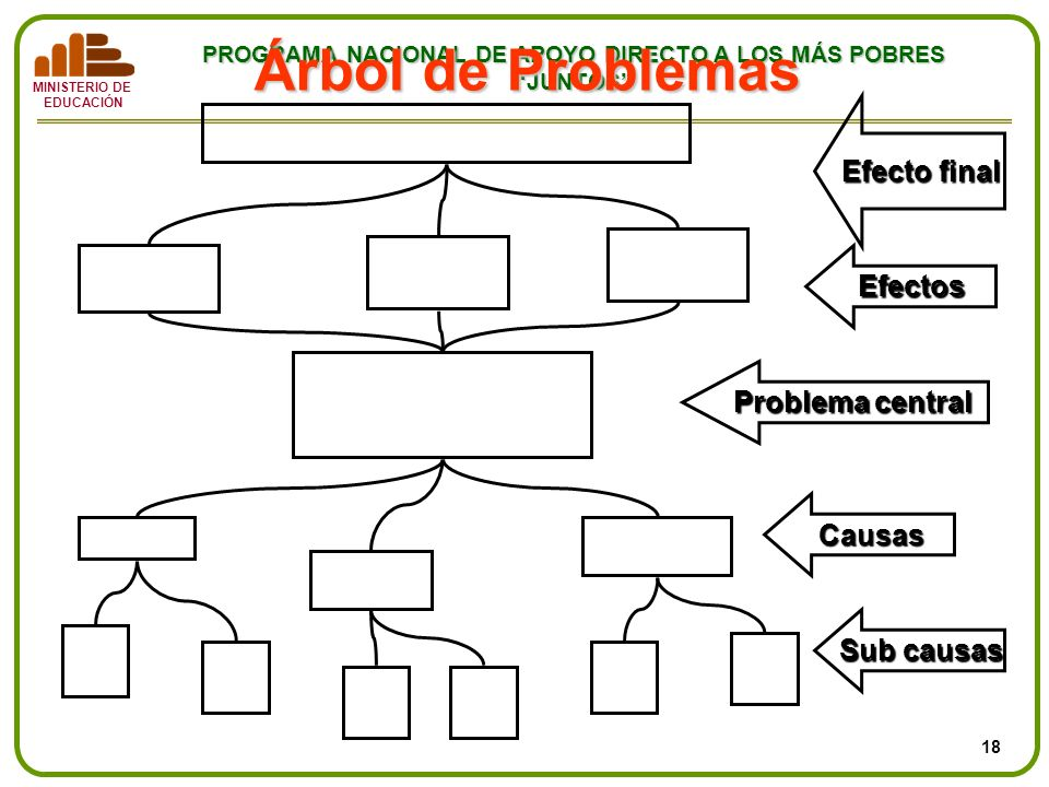 Árbol de Problemas Efecto final Efectos Problema central Causas