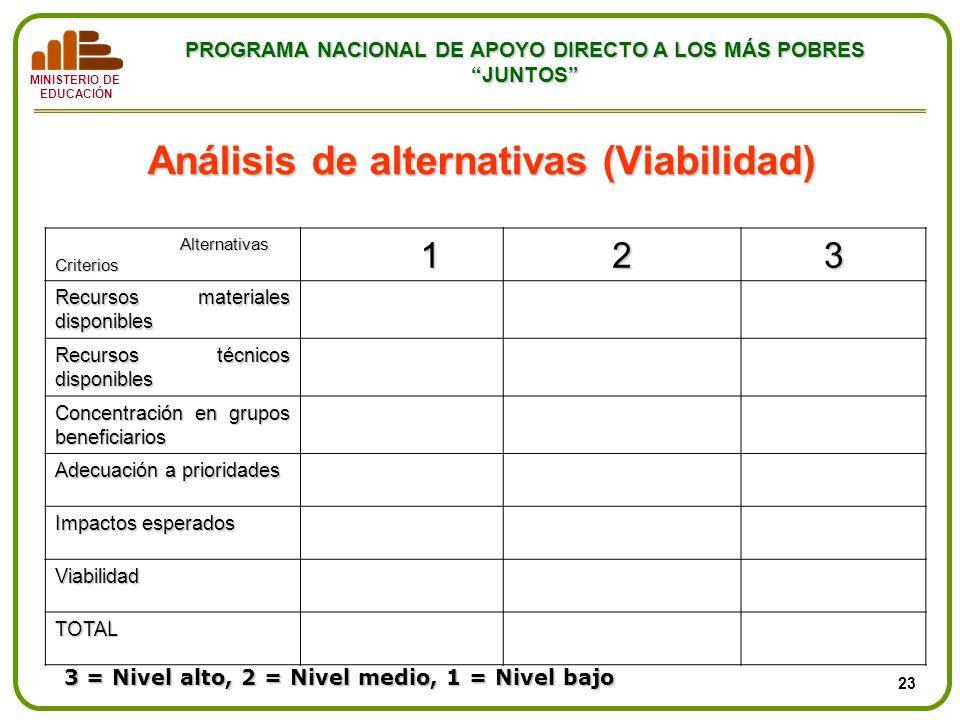 Análisis de alternativas (Viabilidad)