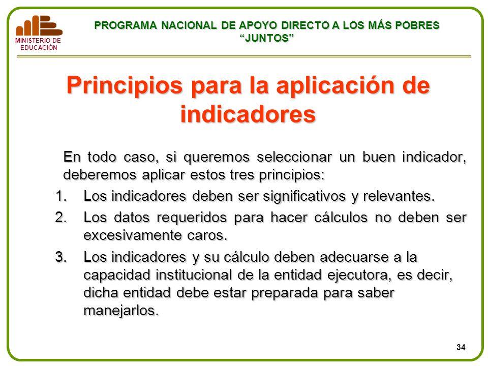 Principios para la aplicación de indicadores
