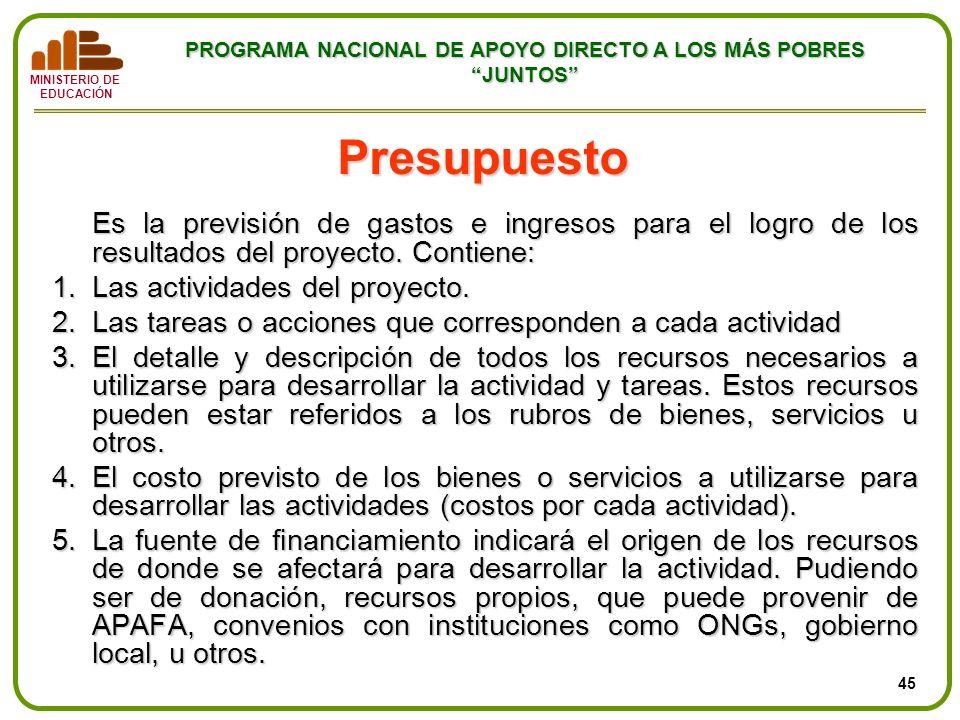 PresupuestoEs la previsión de gastos e ingresos para el logro de los resultados del proyecto. Contiene: