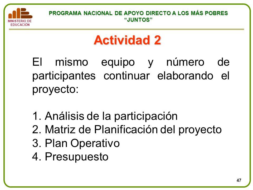 Actividad 2 El mismo equipo y número de participantes continuar elaborando el proyecto: Análisis de la participación.