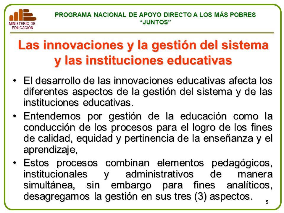 Las innovaciones y la gestión del sistema y las instituciones educativas