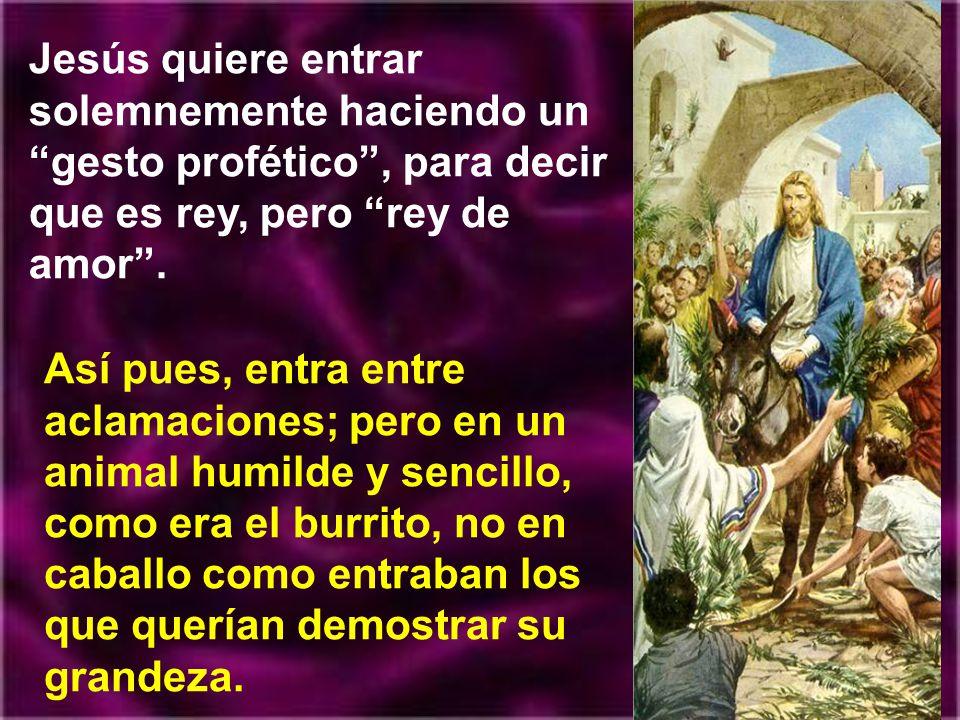 Jesús quiere entrar solemnemente haciendo un gesto profético , para decir que es rey, pero rey de amor .
