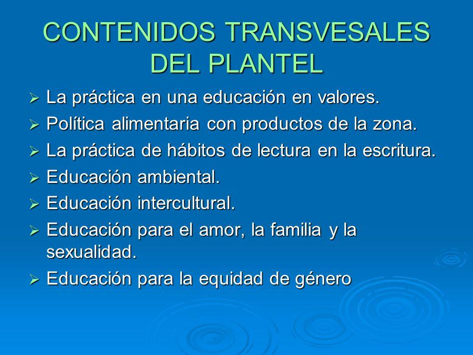 CONTENIDOS TRANSVESALES DEL PLANTEL