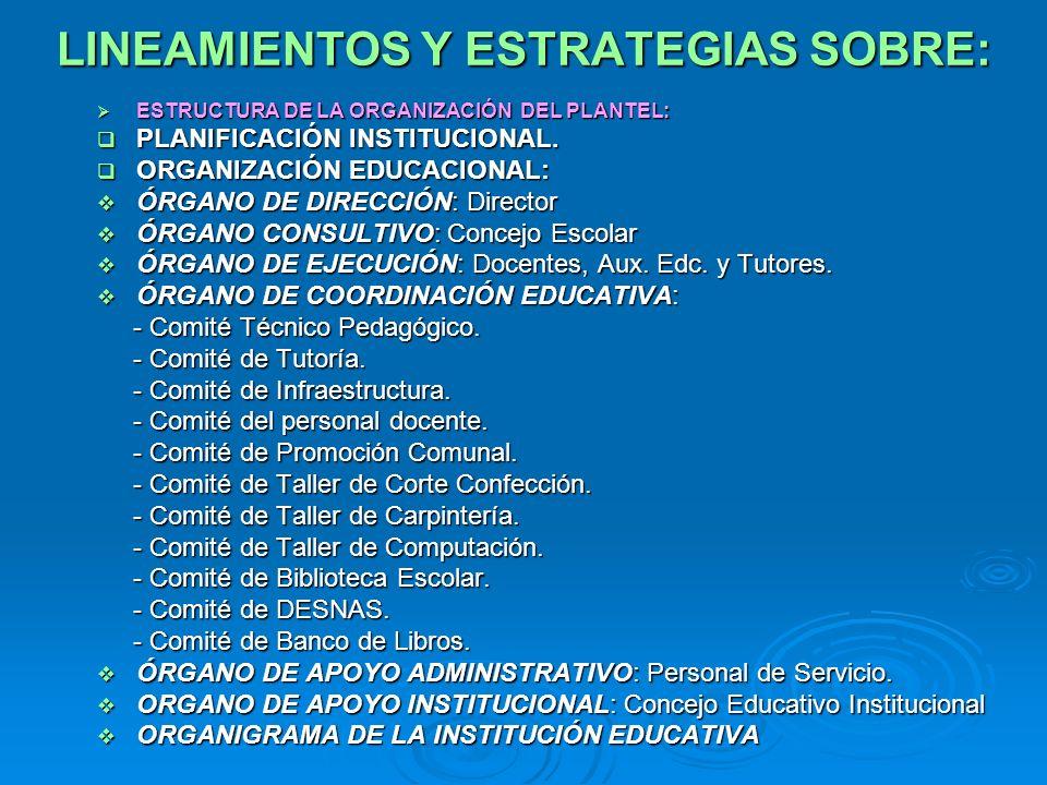 LINEAMIENTOS Y ESTRATEGIAS SOBRE: