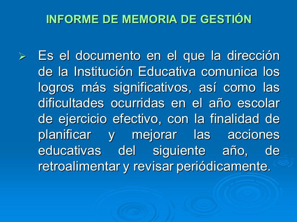 INFORME DE MEMORIA DE GESTIÓN
