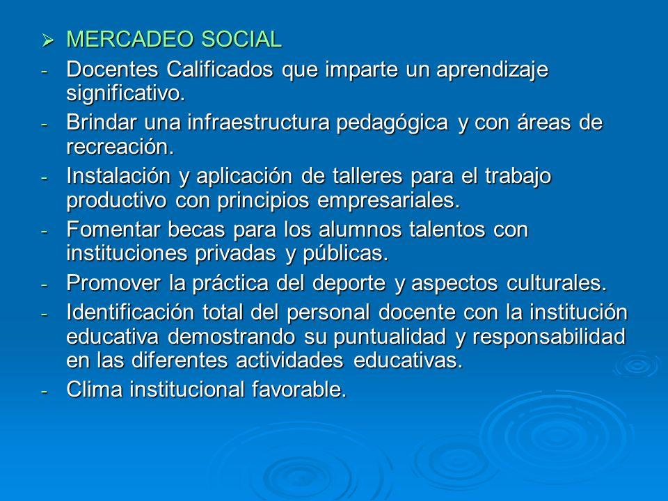 MERCADEO SOCIAL Docentes Calificados que imparte un aprendizaje significativo. Brindar una infraestructura pedagógica y con áreas de recreación.