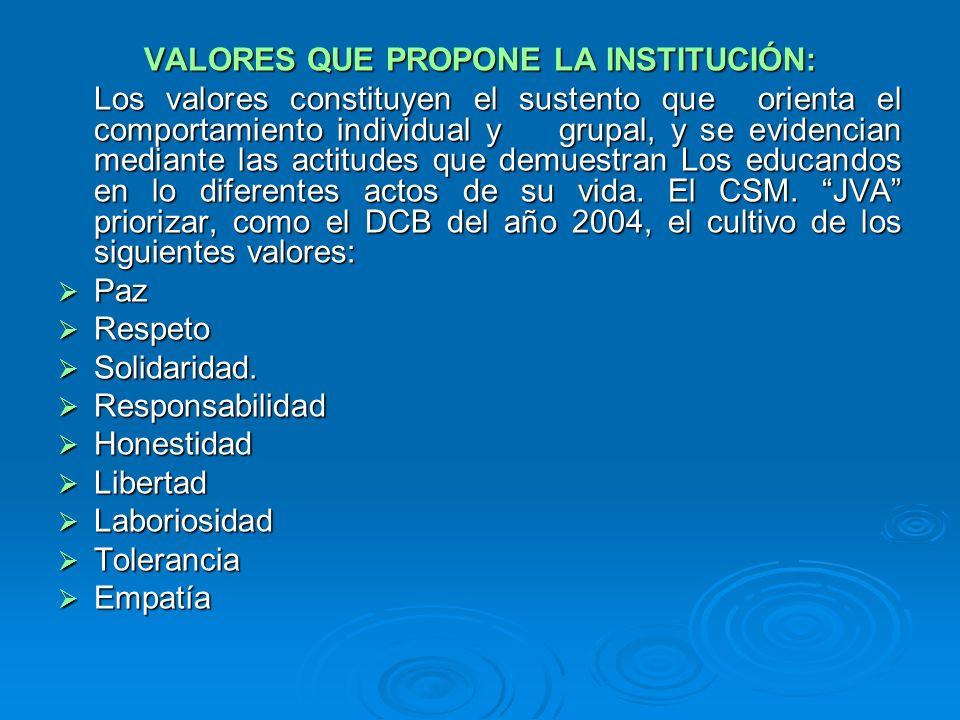 VALORES QUE PROPONE LA INSTITUCIÓN: