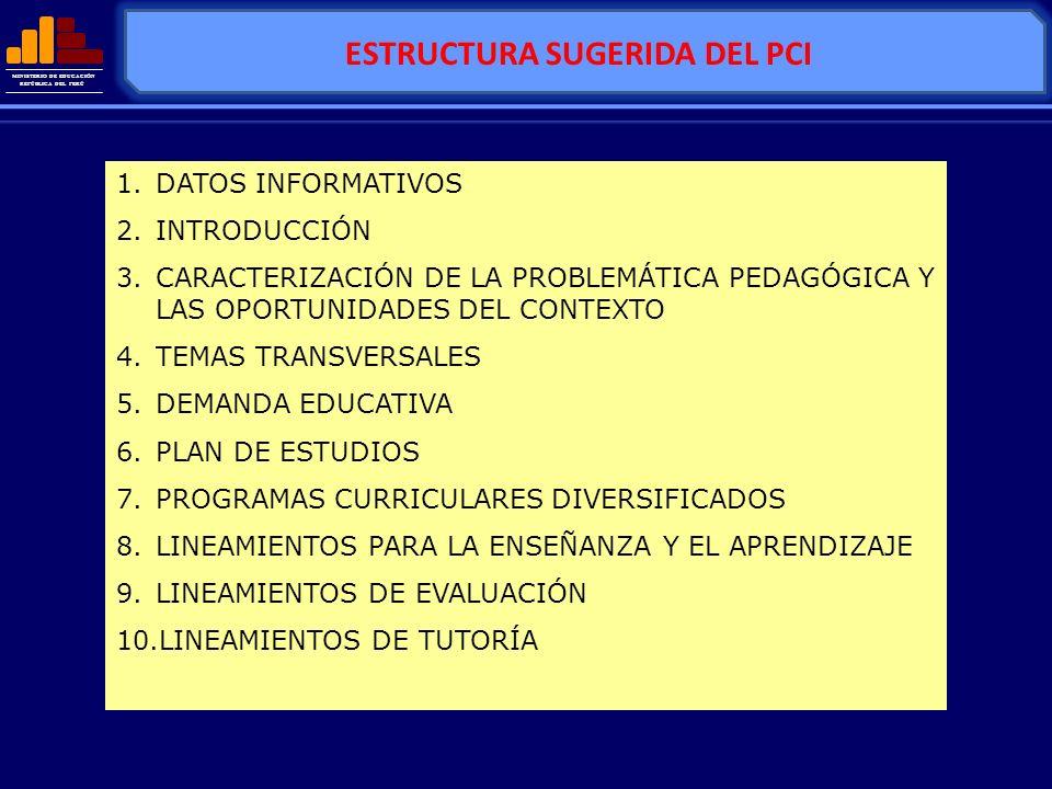 ESTRUCTURA SUGERIDA DEL PCI