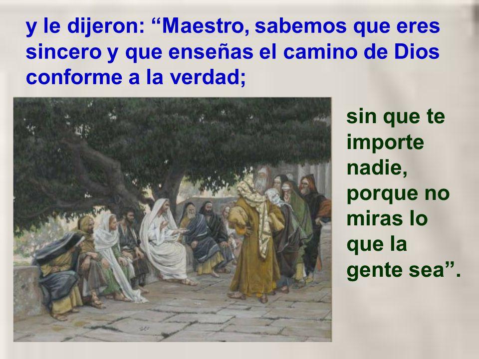 y le dijeron: Maestro, sabemos que eres sincero y que enseñas el camino de Dios conforme a la verdad;