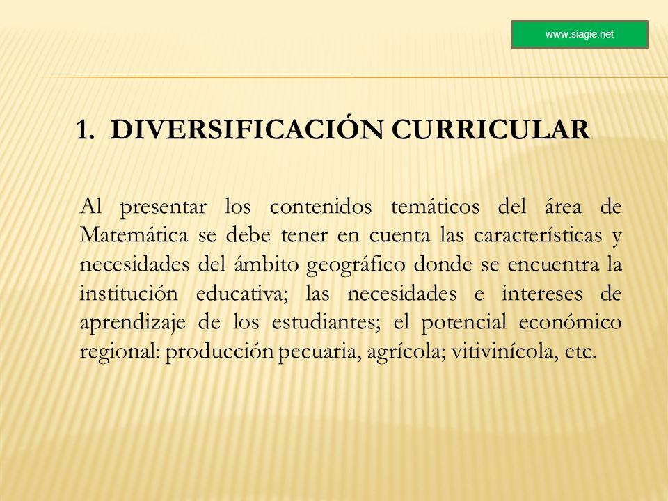 1. DIVERSIFICACIÓN CURRICULAR