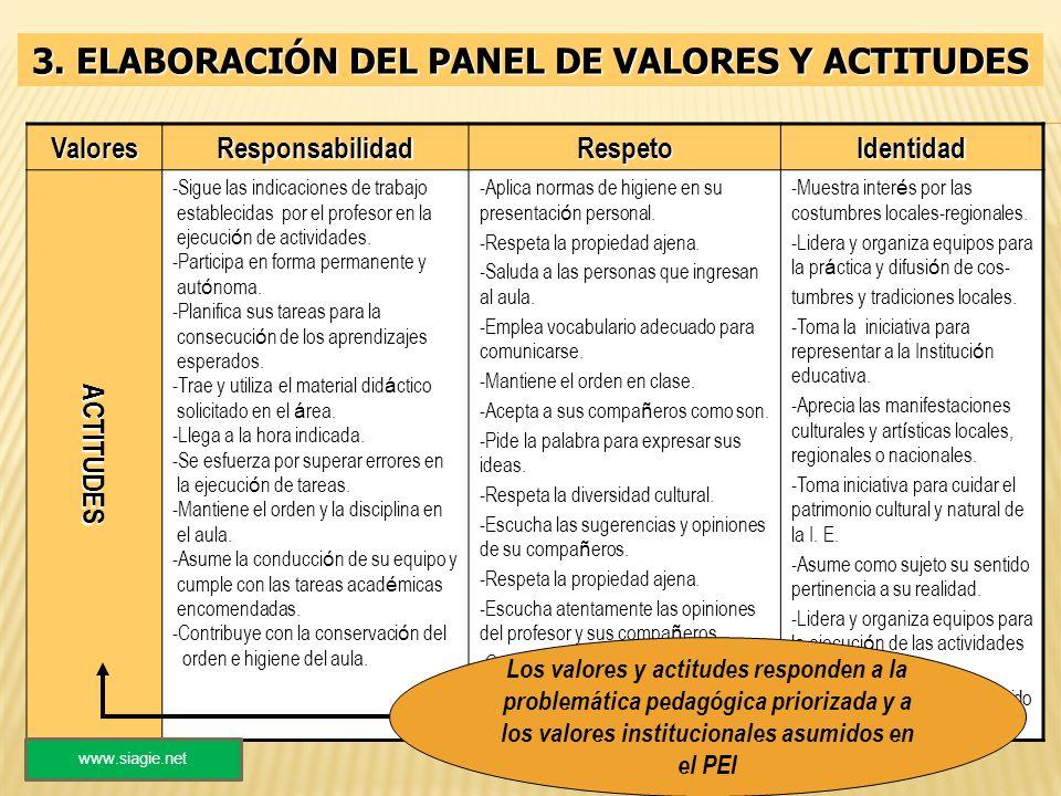 3. ELABORACIÓN DEL PANEL DE VALORES Y ACTITUDES