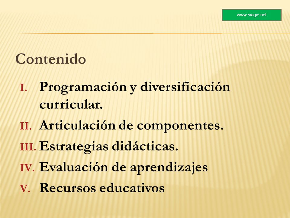 Contenido Programación y diversificación curricular.