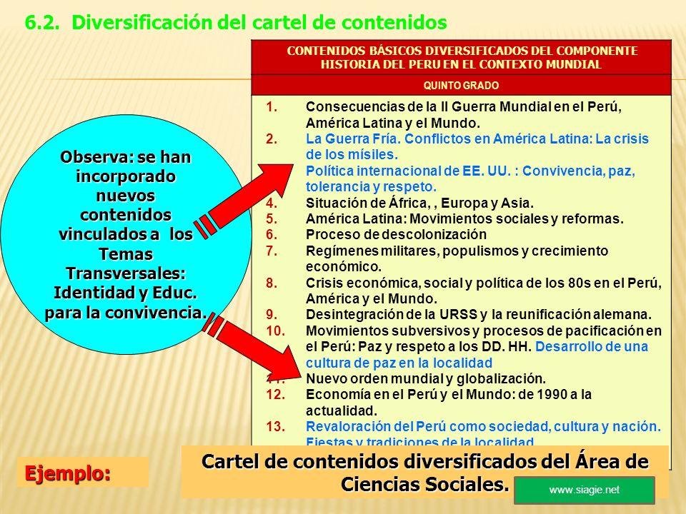 Cartel de contenidos diversificados del Área de Ciencias Sociales.