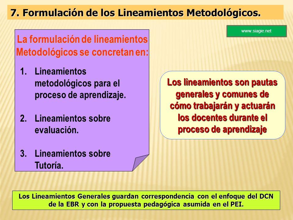 La formulación de lineamientos Metodológicos se concretan en:
