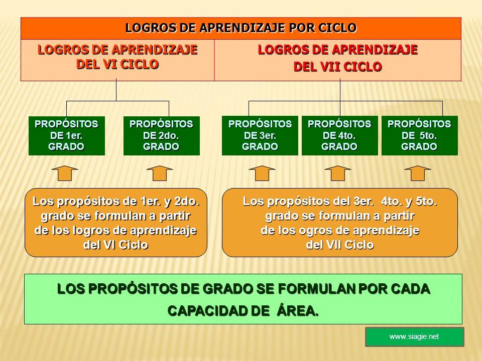 LOS PROPÓSITOS DE GRADO SE FORMULAN POR CADA CAPACIDAD DE ÁREA.