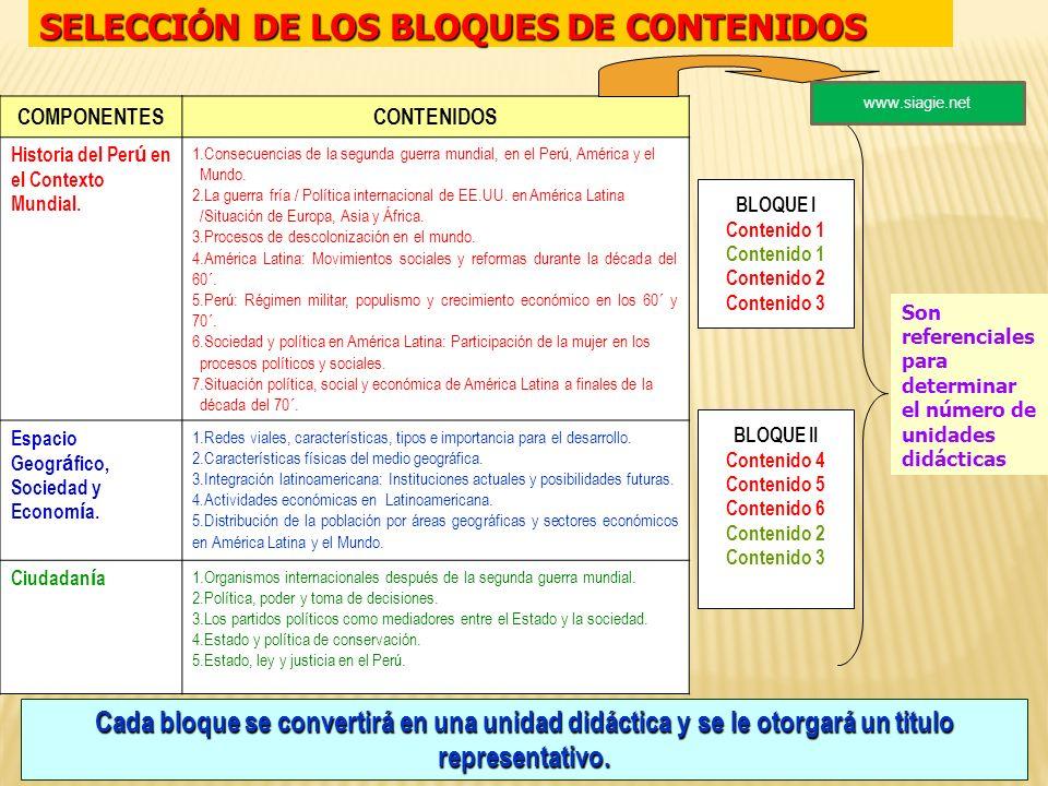 SELECCIÓN DE LOS BLOQUES DE CONTENIDOS