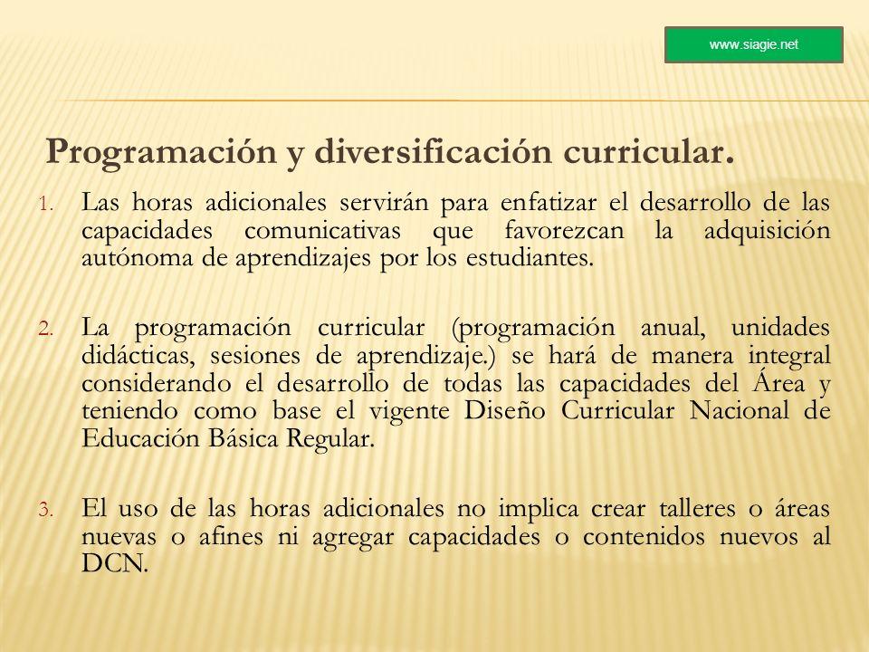 Programación y diversificación curricular.