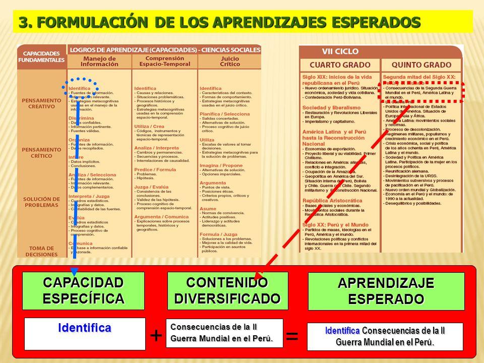 + = 3. FORMULACIÓN DE LOS APRENDIZAJES ESPERADOS CAPACIDAD ESPECÍFICA