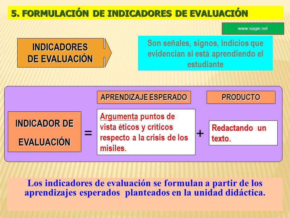 INDICADOR DE EVALUACIÓN