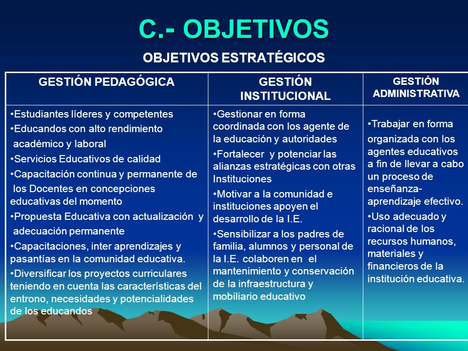 OBJETIVOS ESTRATÉGICOS GESTIÓN INSTITUCIONAL GESTIÓN ADMINISTRATIVA