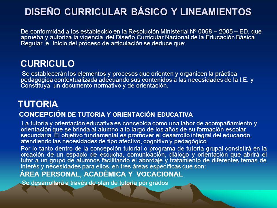 DISEÑO CURRICULAR BÁSICO Y LINEAMIENTOS