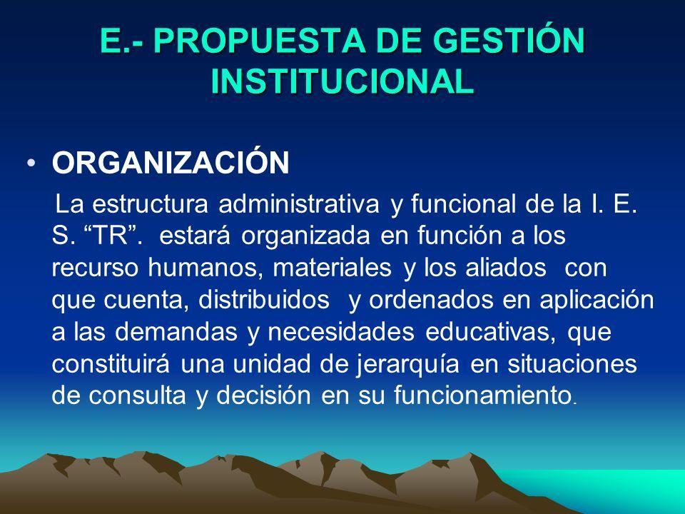 E.- PROPUESTA DE GESTIÓN INSTITUCIONAL