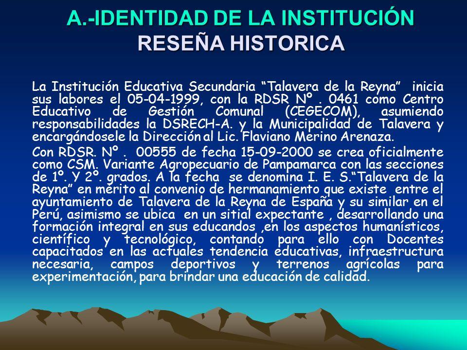 A.-IDENTIDAD DE LA INSTITUCIÓN RESEÑA HISTORICA