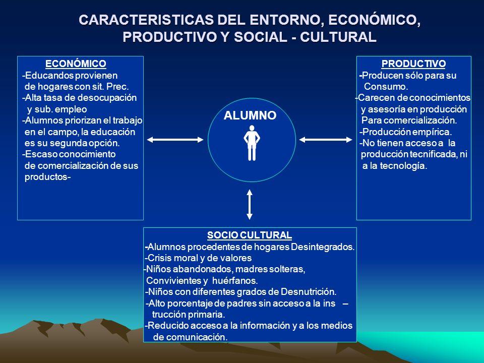 CARACTERISTICAS DEL ENTORNO, ECONÓMICO, PRODUCTIVO Y SOCIAL - CULTURAL