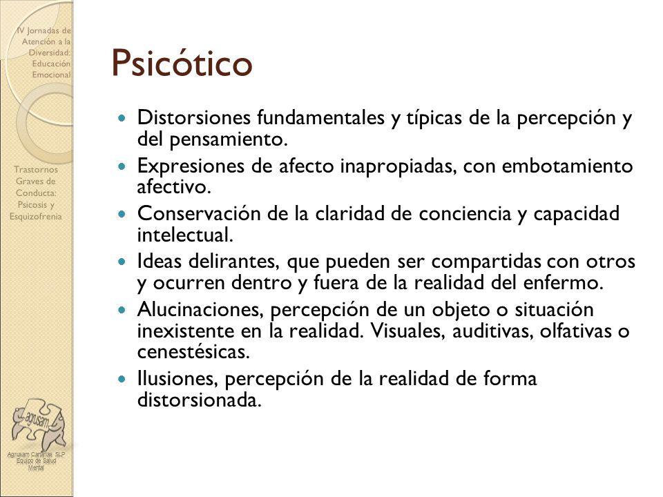 Psicótico Distorsiones fundamentales y típicas de la percepción y del pensamiento. Expresiones de afecto inapropiadas, con embotamiento afectivo.