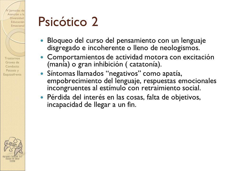 Psicótico 2 Bloqueo del curso del pensamiento con un lenguaje disgregado e incoherente o lleno de neologismos.